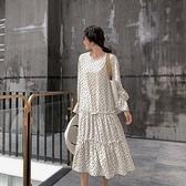 漂亮小媽咪 韓系波點洋裝 【D1199】點點 寬鬆 顯瘦 長袖 長裙 長洋裝 孕婦裝 連身裙