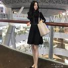 洋裝 韓版赫本小黑裙禮服刺繡收腰打底連身...
