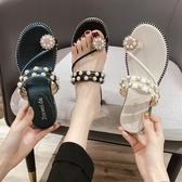 夾腳拖鞋 夾腳拖鞋女外穿夏季水鑚珍珠厚底楔形平底一字拖時尚涼拖 Ballet朵朵