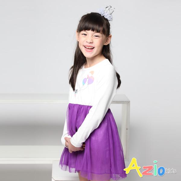Azio女童 洋裝 可愛貓咪氣球澎澎紗裙長袖洋裝 (紫) Azio Kids 美國派 童裝