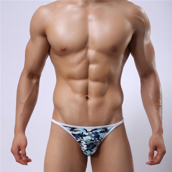 新品特價!!時尚迷彩超薄男士內褲 高叉低腰聚酯纖維性感三角褲男