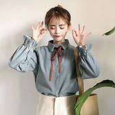 蝴蝶結系帶喇叭袖上衣長袖打底襯衫女