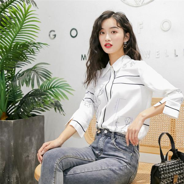 絕版出清 韓系氣質定位印花復古寬鬆休閒襯衫長袖上衣
