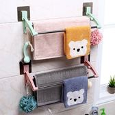 掛毛巾架免打孔衛生間壁掛浴巾架吸盤式雙桿帶掛鉤收納架毛巾掛架