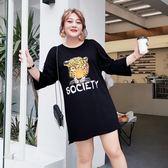 大碼女裝胖mm寬松藏肉T恤2019新款春裝遮肚顯瘦印花連身裙