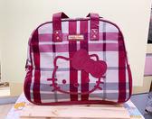 【震撼精品百貨】Hello Kitty 凱蒂貓~Sanrio HELLO KITTY手提袋/旅行袋-紅格(美國版)#12761