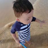兒童泳衣男寶泳褲條紋速干連體防曬泳裝帶帽