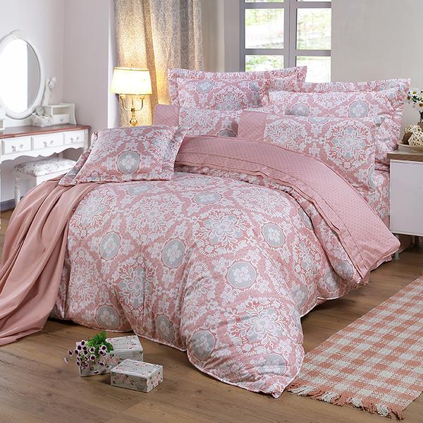 【FITNESS】精梳棉雙人七件式床罩組-尊爵貴族(粉)_TRP多利寶