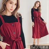【天母嚴選】排釦雙口袋腰綁結蜜桃絨吊帶連身洋裝(共二色)