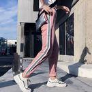 EASON SHOP(GU7486)實拍側邊撞色條紋鬆緊腰抽繩綁帶女長褲高腰顯瘦運動褲修身直筒九分休閒褲粉色