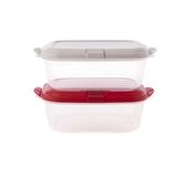 樂扣樂扣PP保濕微波盒/蒸氣孔/860ML/2件組(上蓋:紅+米白)