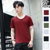 (出清)V領素面純色短袖T恤【002001AAAA】