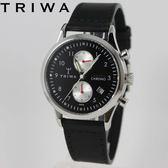 [萬年鐘錶】TRIWA 北歐瑞典設計Lansen Chrono系列 Raven雙眼計時真皮錶 銀x黑  38mm LCST114-SC010112