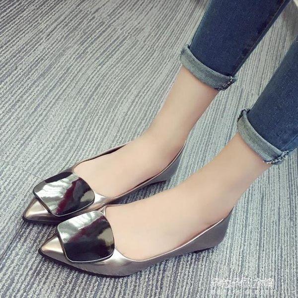 新款尖頭平底鞋淺口單鞋女韓版時尚小皮鞋百搭學生鞋子潮  朵拉朵衣櫥