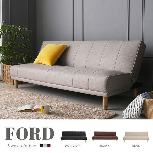 沙發 沙發床 日本人氣款 FORD弗德日式簡約布質沙發床(三色)【H&D DESIGN】