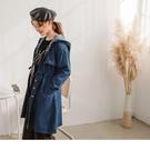 長版版型及腰部抽繩可修飾身形 除了當外套也可當作洋裝單穿