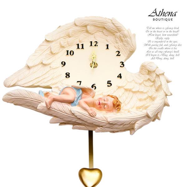 【雅典娜家飾】歐式復古溫馨男天使掛鐘-AD19