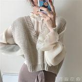 春季女裝韓版chic風復古氣質寬鬆百搭短款大V領無袖針織背心馬甲  潮流衣舍