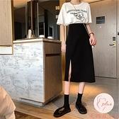 高腰長裙夏季西裝開叉裙子過膝中長款黑色半身裙女【大碼百分百】