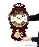 中式掛鐘客廳大氣復古時鐘靜音壁掛錶木質創意搖擺中國風家用鐘錶 IGO 優家小鋪