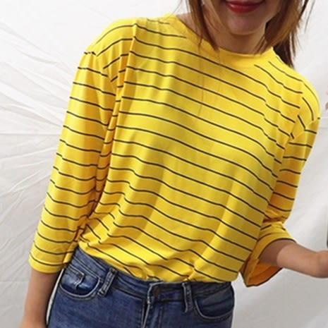 EASON SHOP(GU7282)實拍經典百搭黃色細橫條紋圓領短袖T恤女上衣服落肩七分袖寬鬆顯瘦內搭衫棉T恤