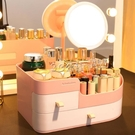 化妝品收納盒帶抽屜護膚品桌面收納盒塑料梳妝臺防塵收納架子