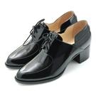 全真皮綁帶樂福粗跟踝靴-漆光黑‧karine(MIT台灣製)