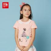 JJLKIDS 女童 夢幻蕾絲圓領逛街女孩短袖上衣 T恤(粉膚)
