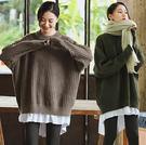 毛衣-加厚溫暖兔絨假兩件針織衫寬鬆套頭/設計家 SZ231