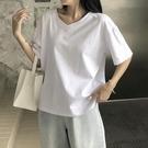 短袖T恤 純棉短袖女2021年夏新款V領寬鬆白色t恤女裝百搭上衣cec超火ins潮 寶貝寶貝計畫 上新