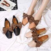 新款夏季奶奶鞋女復古淺口韓版百搭學生蝴蝶結方頭單鞋豆豆鞋 ciyo黛雅