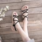 草編鞋 交叉細帶涼鞋女仙女風夏季新款學生百搭軟妹草編底羅馬鞋-Ballet朵朵