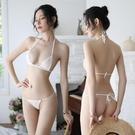 丁字褲 性感女式三點式透視超薄內衣 透明系帶比基尼丁字褲文胸套裝【快速出貨】