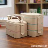 微波爐加熱飯盒專用日式長方形分格便當盒上班族送餐具套裝  居家物語