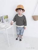 連帽T恤男童連帽T恤韓版洋氣條紋寶寶套頭衫小男孩休閒長袖上衣 蓓娜衣都