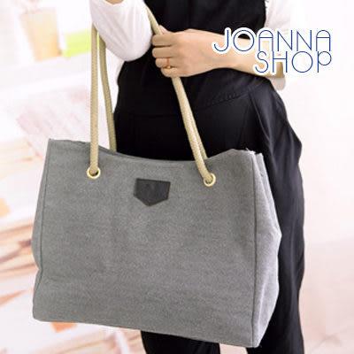 側背包 文青帆布麻繩大方包-Joanna Shop