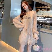 洋裝 裙子仙女超仙森系正韓透視亮片閃閃襯衫裙春季新款甜美系帶連身裙 一次元