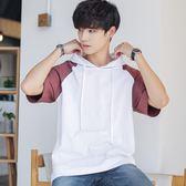 夏季新款連帽潮中袖T恤男士寬鬆學生男裝 zm1345『男人範』