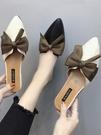 半拖鞋 半拖鞋女夏時尚春季外穿尖頭蝴蝶結拖鞋韓版包頭粗跟涼拖交換禮物