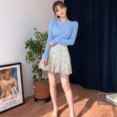 Qmigirl 夏季韓版高腰顯瘦有內襯荷葉邊A字短裙【T1652】
