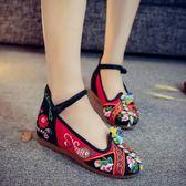 低跟鞋3cm 春夏新款彩繩民族風拼色繡花鞋 復古老北京布鞋漢服鞋內增高女單鞋