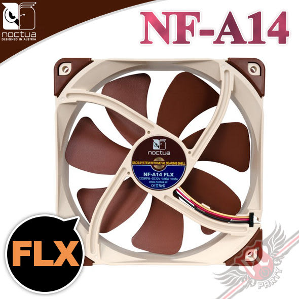 [ PC PARTY ] 貓頭鷹 Noctua NF-A14 FLX 風扇 14公分 SSO2 磁穩軸承 防震靜音扇 (台中、高雄)