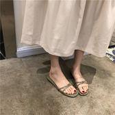 夏款韓國時尚純色蝴蝶結拖鞋露指涼拖外穿懶人拖平底女鞋子 亞斯藍