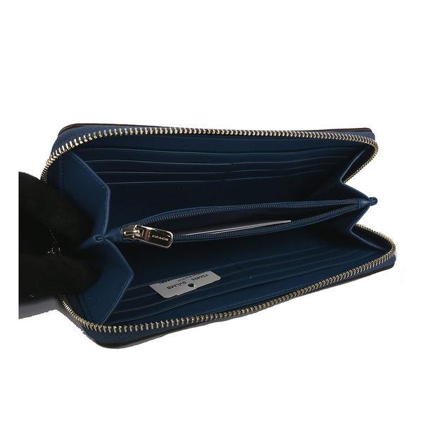 【COACH】LOGO底PVC皮革藍色小花ㄇ長夾(駝色) F56496 SVLMB