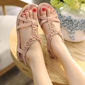 平底涼鞋 夏季新款甜美清新花朵平底涼鞋女大尺碼平跟防滑孕婦鞋舒適軟底