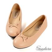 娃娃鞋 OL日常通勤圓頭蝶結軟底豆豆鞋-粉