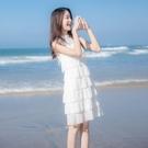 蛋糕裙 超仙白色寬鬆連身裙女夏法式顯瘦蛋糕裙子雪紡無袖一字領上衣-Ballet朵朵