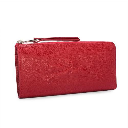 LONGCHAMP Le Foulonne浮雕賽馬logo荔枝紋皮革L型拉鍊長夾(紅色)480806-608