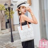 包包女蕾絲手提購物袋復古夏天刺繡托特包側背包【匯美優品】