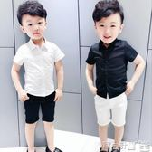 男童襯衫 兒童短袖襯衫 男童純色百搭襯衣打底衫黑色白色英倫潮帥 寶貝計畫